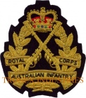 BULLION WIRE EMBROIDERED BADGE - ROYAL AUSTRALIAN INFANTRY CORPS