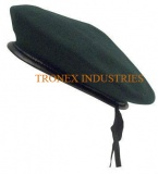 Beret Cap Wool Green - Leather Strap