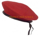 Beret Cap Wool Red - Leather Strap