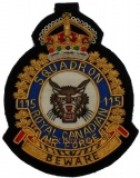 Squadron Bullion Wire Badge - ROYAL CANADIAN AIR FORCE - BEWARE - 115