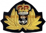 Embroidery Bullion Cap Badge - Embroidery Wreath Gold Silver Anchor